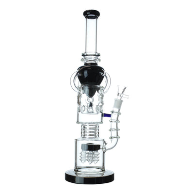 16 inch intricate recycler bong 4 recycler arm 2 part perc chamber black cone design with handle black base bowl on right