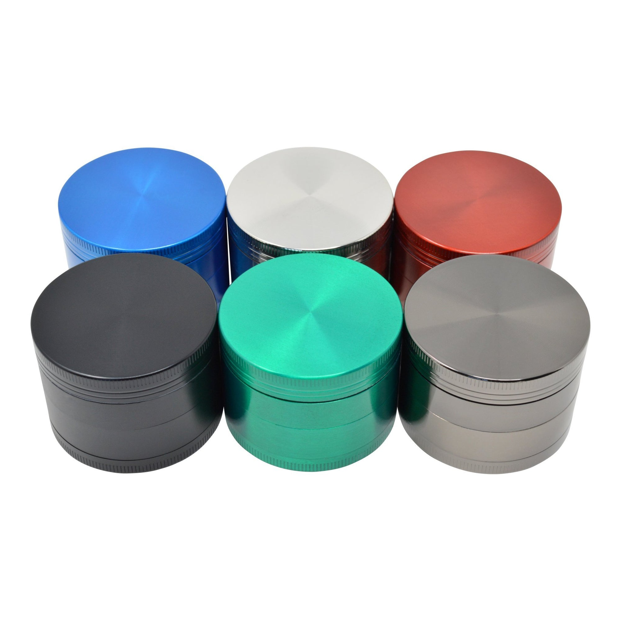 Top shot of 6 pieces closed lid 46mm metal grinder smoking accessory in different colors
