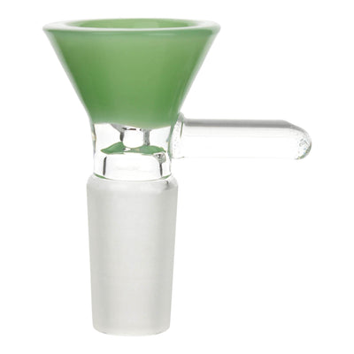 Full close up shot of glass 14mm male cone bowl bong part in jade color with handle facing right
