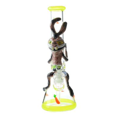 14 inch glass beaker bong crazy thin rabbit design ears on neck 2 teeth and bowl in front yellow accent carrots design