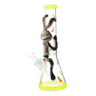 14 inch glass beaker bong crazy thin rabbit design ears on neck bowl on left face visible yellow accents carrots design