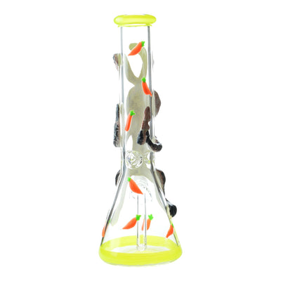 Back part of 14 inch glass beaker bong crazy thin rabbit design facing back with yellow accents and carrots design