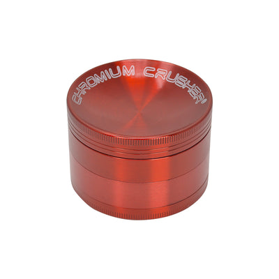 63mm 4-piece round aluminum crusher smoking accessory red metallic and Chromium Crusher label on lid
