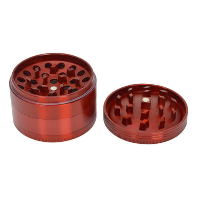 Open 63mm 4-piece round aluminum crusher smoking accessory red metallic and Chromium Crusher label on lid