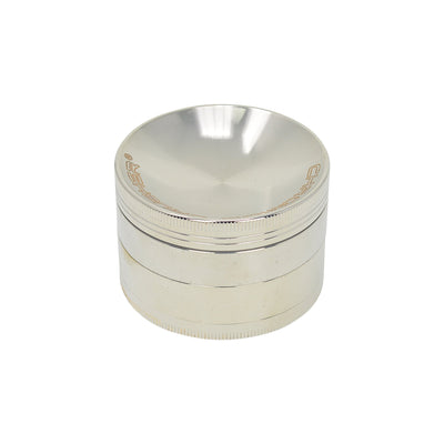 63mm 4-piece round aluminum crusher smoking accessory silver and Chromium Crusher label on lid
