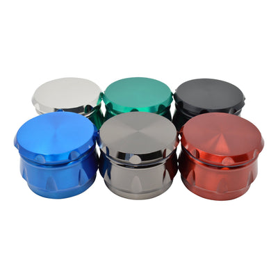 Top angle shot of 6 pieces closed lid 52mm metal grinder moking accessory in different colors drum design lid