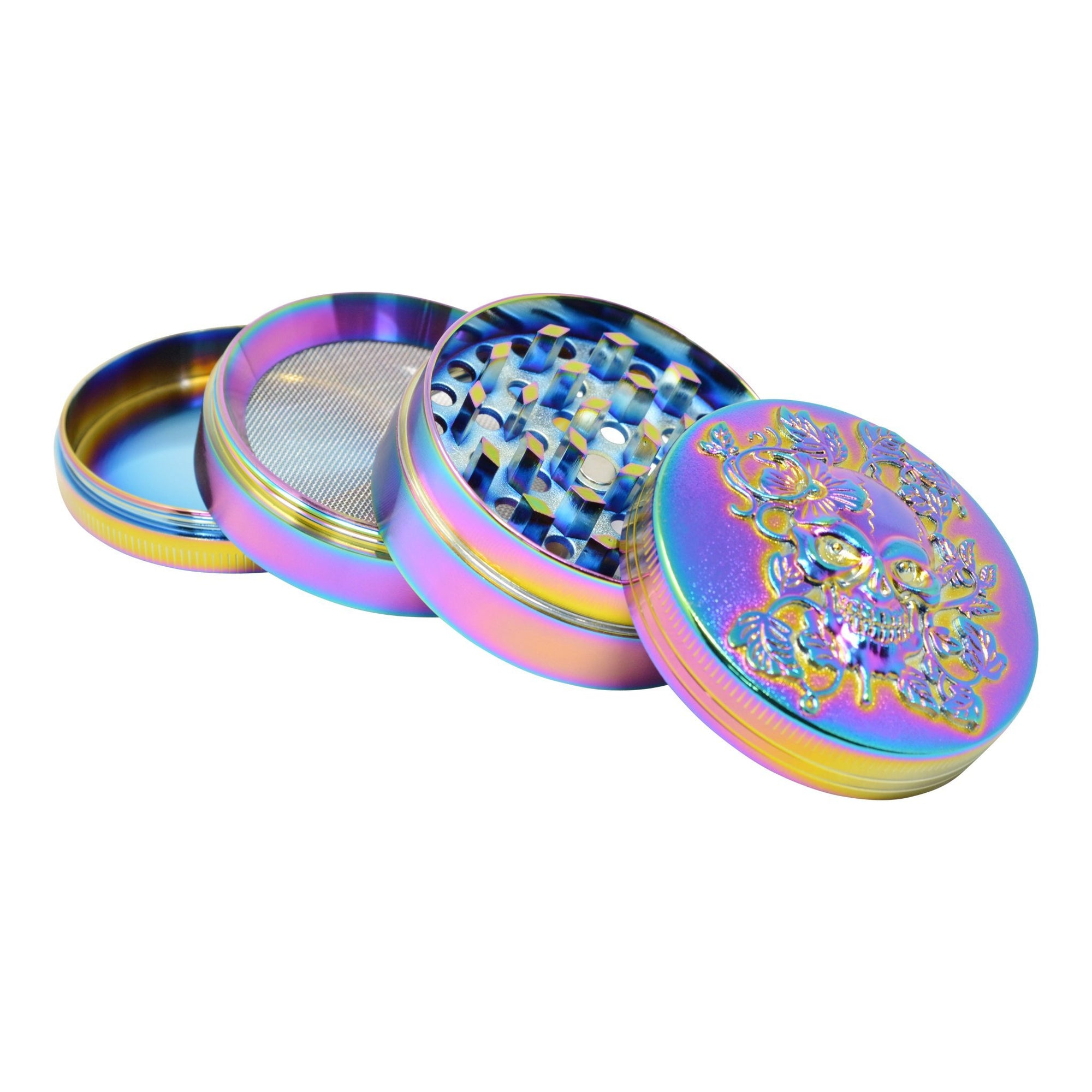 Full shot of 4 pieces shiny hologram rainbow colored 48mm metal grinder skull design