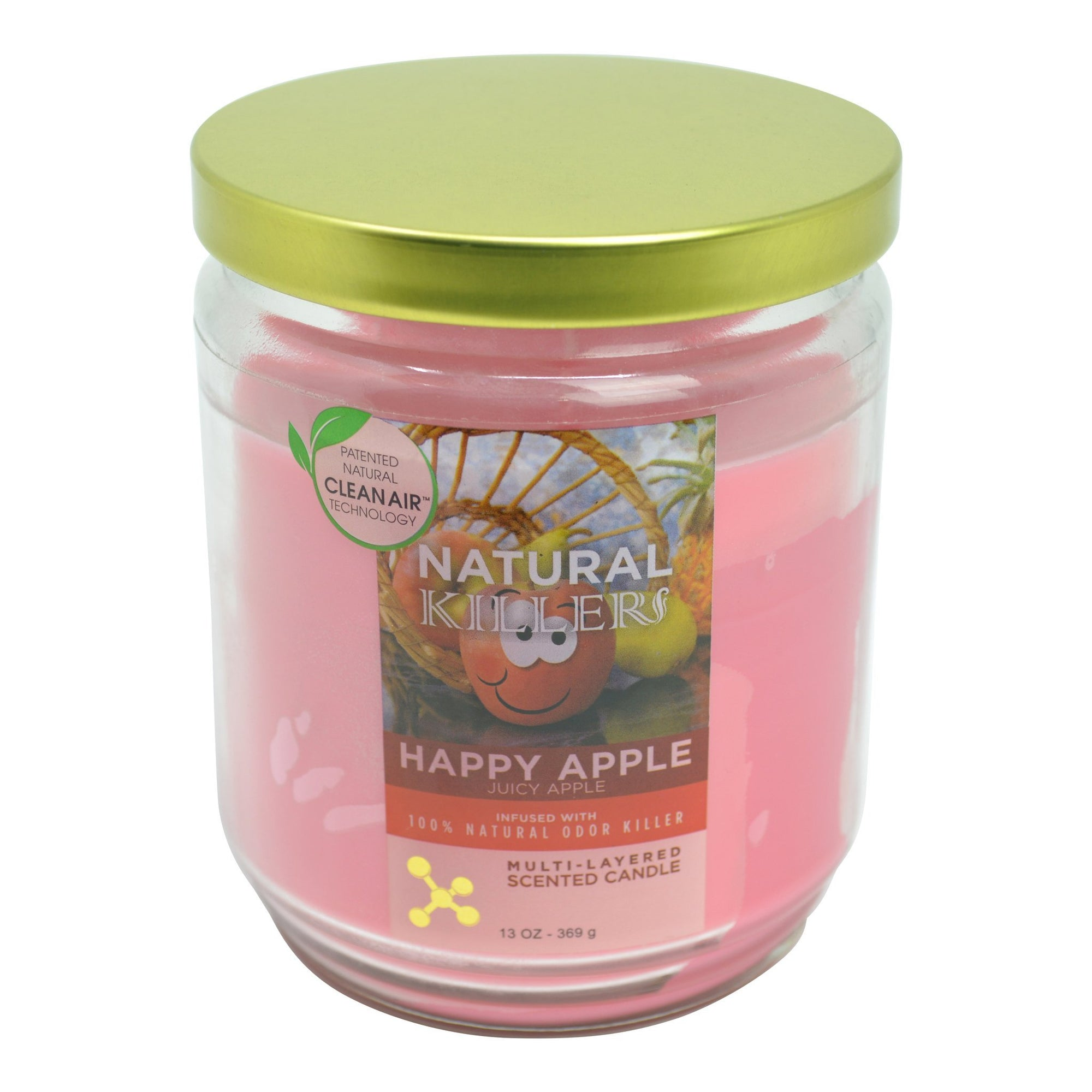 Full shot of 4.5 inch Natural Killer pink deodorizer candle in glass jar golden lid smiling apple design