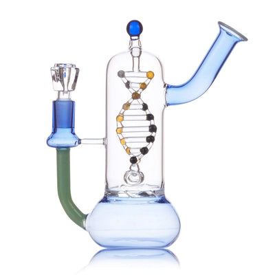 Portable 7-inch glass bong smoking device with spinning double helix DNA on turbine perc
