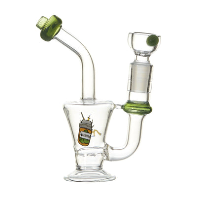 5-inch mini glass bong smoking device with inline perc inverse beaker base in funny cartoon Dr. Kush cartoon design