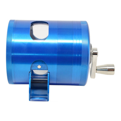 Full shot of blue 56mm dubs grinder smoking accessory mechanical sharpener look tilted down hand crank facing right