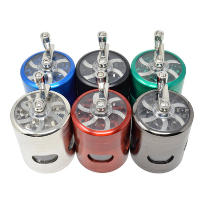 Top shot of 6 pieces 56mm dub grinder mechanical sharpener look with hand crank on top in different colors