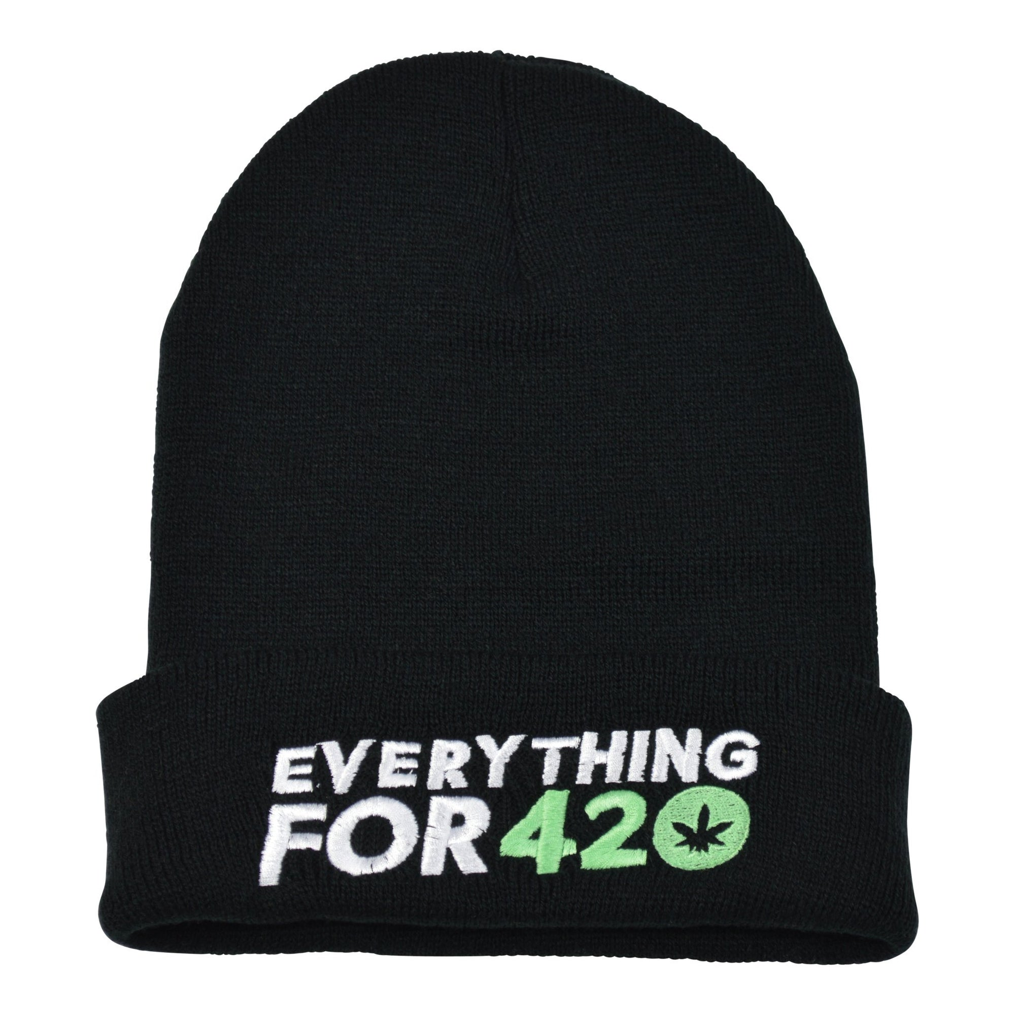 Full shot of a black folded beanie clothing apparel with Everything for 420 wording and logo in front weed leaf design