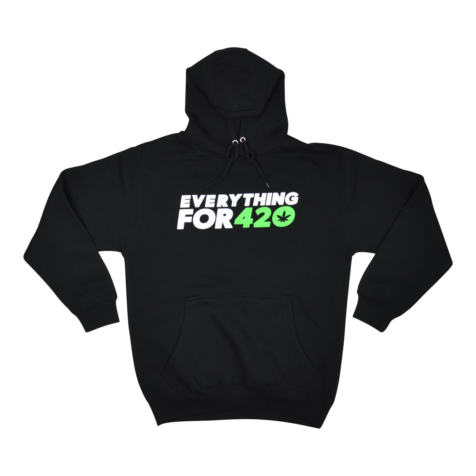 Full shot of small sized Everything for 420 black hoodie jacket with weed logo folded sleeves tied cords hood folded inside