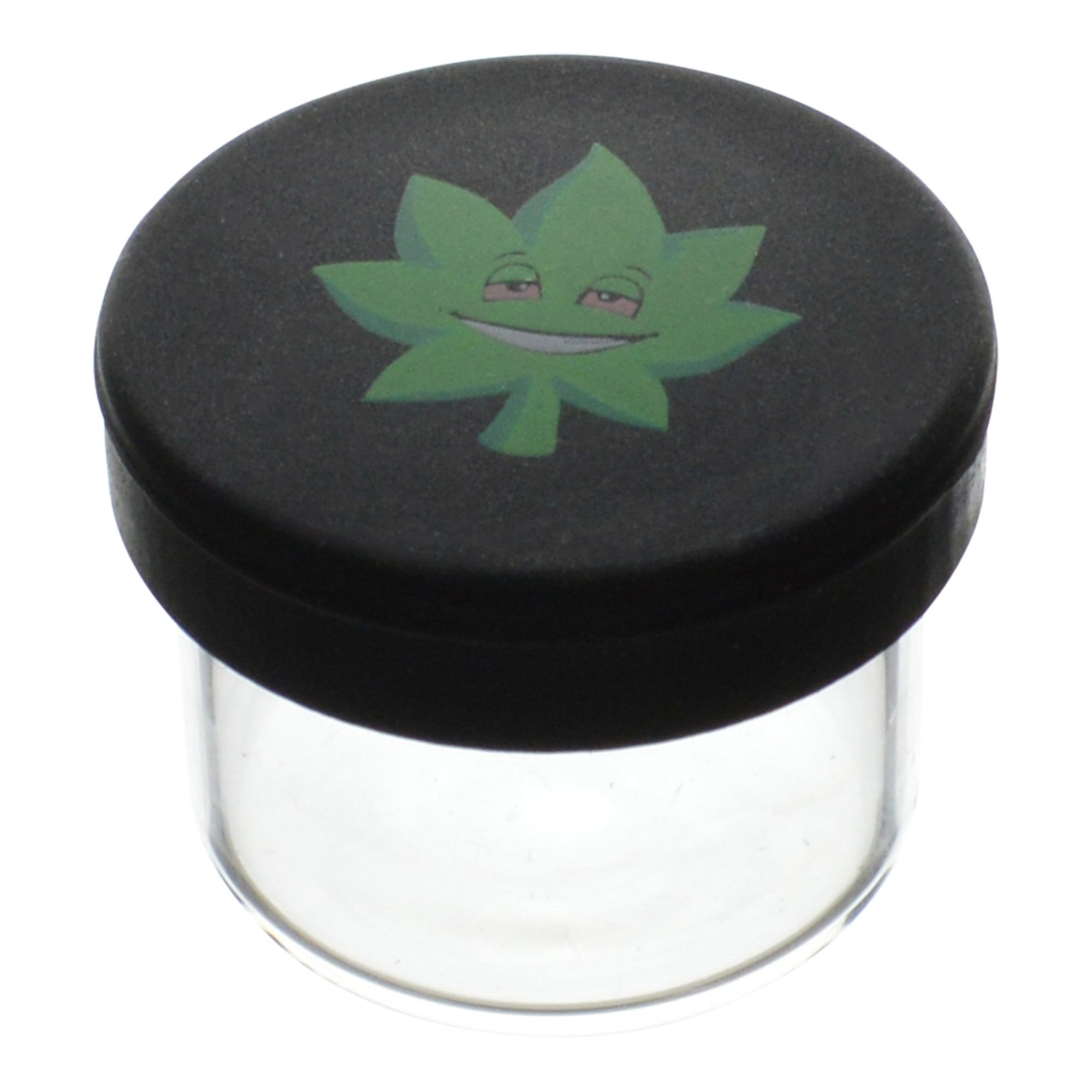 High angle shot 25 mm EF420 mini glass wax container with oversized black lid green weed leaf with getting high smiling face