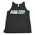 High angle shot black cotton sleeveless tank top back white tag visible with white and green Everything For 420 logo in front