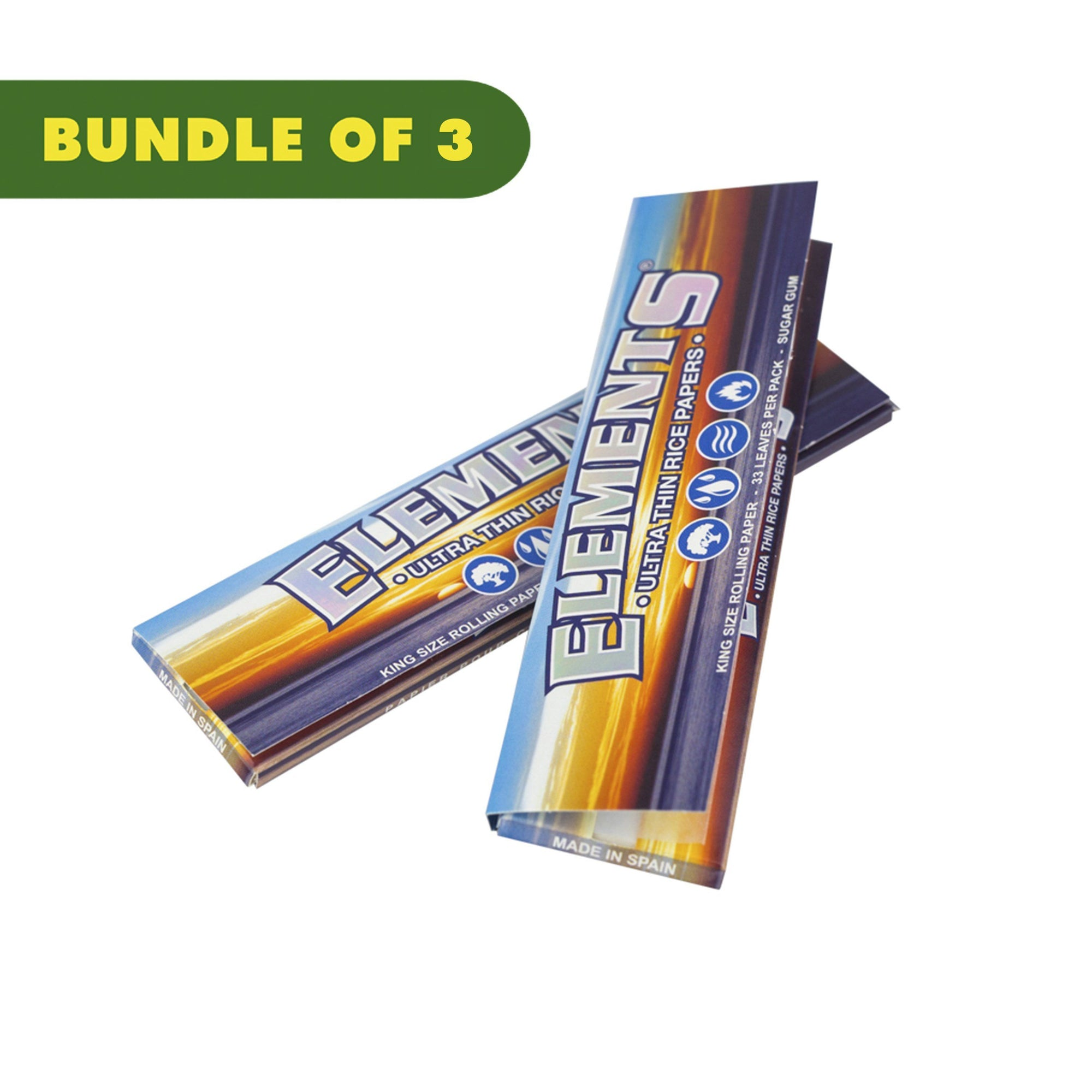 2 pack of closed ultra-thin rollings papers with classic Elements logo ocean and sunset image