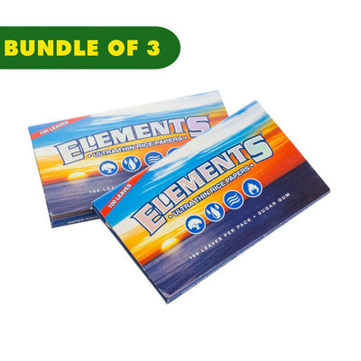 2 packs of closed single wide rolling papers classic Elements logo ocean and sunset image
