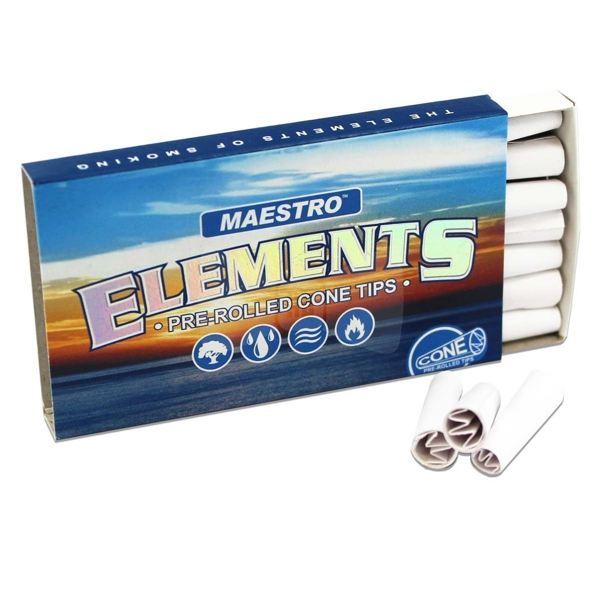Full shot of a partly opened pack of Maestro Elements cone tips in blue and gold colors sunset and sea design
