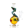Full shot of 6 inch glass mini rig yellow dragon ball with star design surrounded by a dragon head pointing left