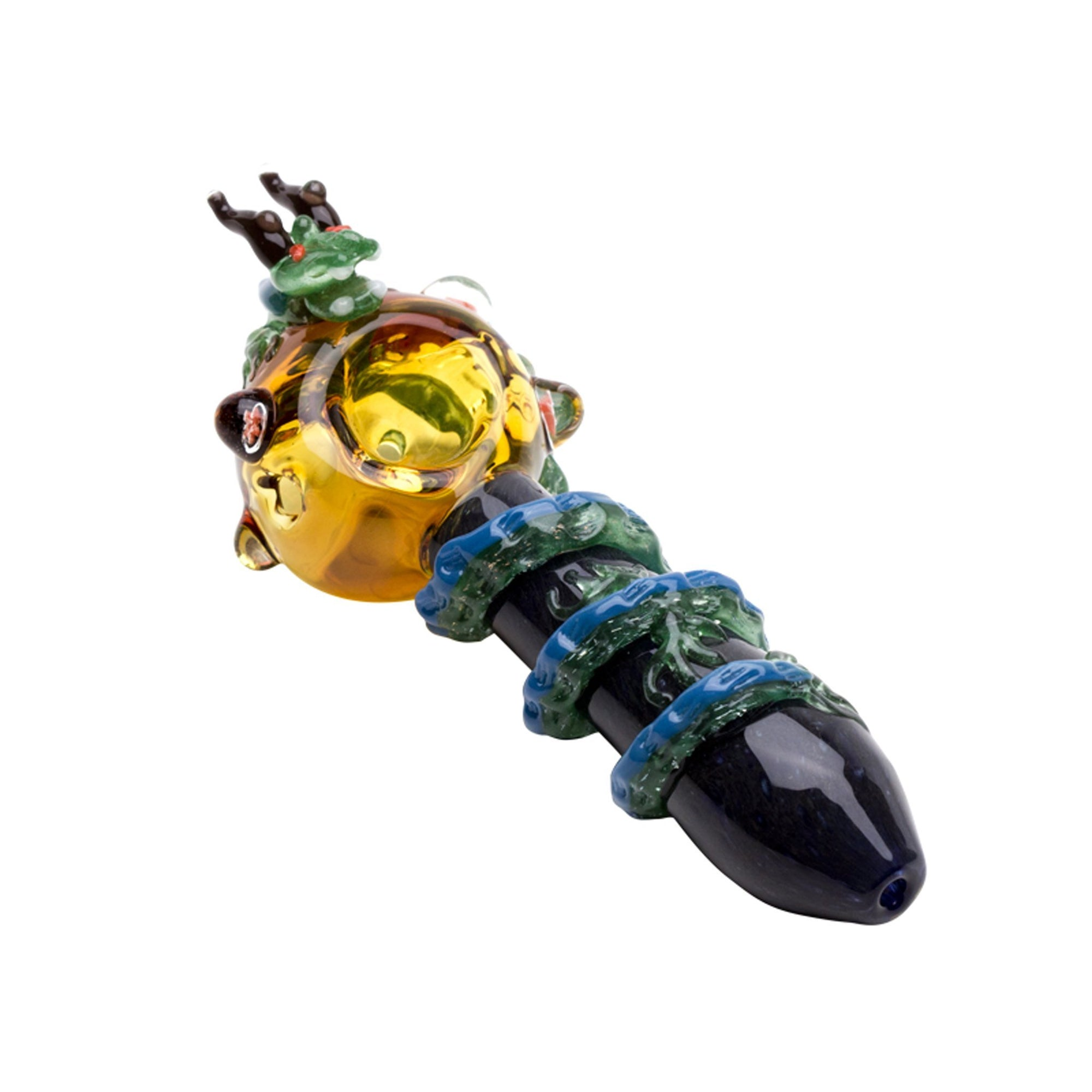 Full shot of intricately designed 4 inch pipe with dragon design dragon head on yellow bowl on left and black handle
