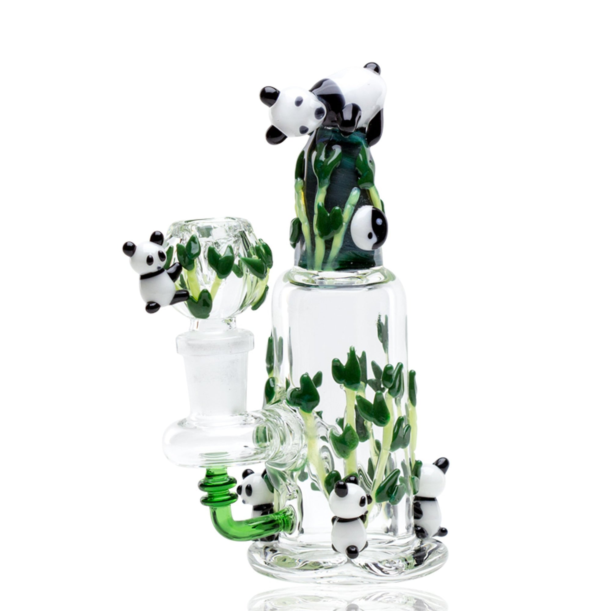 Full upright shot of 6.5 inch dab rig with cute pandas on bamboo leaves design green downstem banger on left