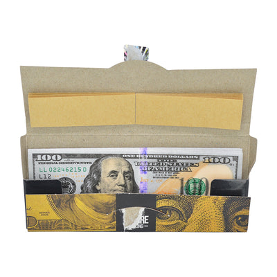 Funny rolling papers smoking accessory looks like $100 Benjamin Franklin bill banknote money designwith cardboard case