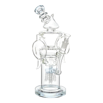 Full shot of crystal clear 13 inch glass bong with light teal perc mouthpiece facing left slightly tilted backwards