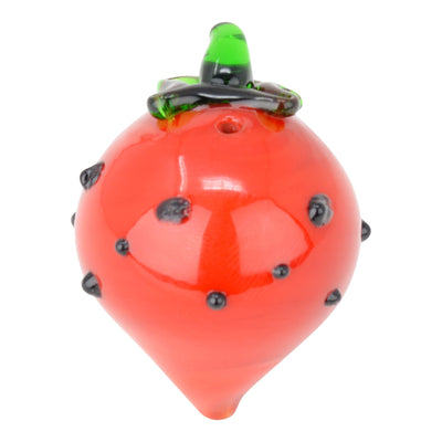 Cute pocket-friendly non-stick carb cap made of glass in sweet strawberry look and shape with seeds