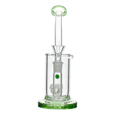 Green 8-inch glass bong smoking device with honeycomb perc angled mouthpiece