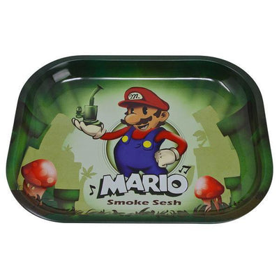 Lightweight rolling tray smoking accessory with 90s Mario holding a bong with mushrooms design