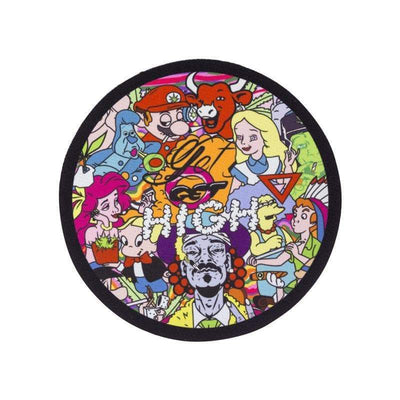 Colorful round bong coaster smoking accessory with various 90s kid cartoon characters