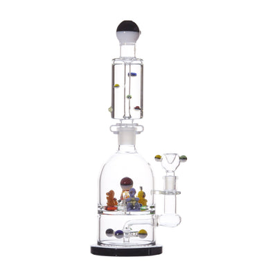 Huge 17-inch glass bong smoking device double chambered with glycerin chiller and cute Poke Balls Pokemon animated design