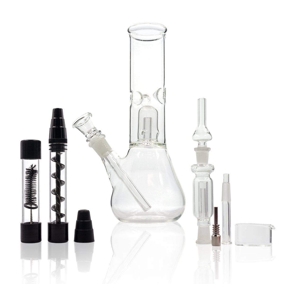 Complete set of elegant glass smoking devices like percolating beaker, nectar collector and glass blunt