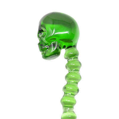 Green handy glass dab tool dabber smoking accessory with a skull handle and vertabrae style body pointed end