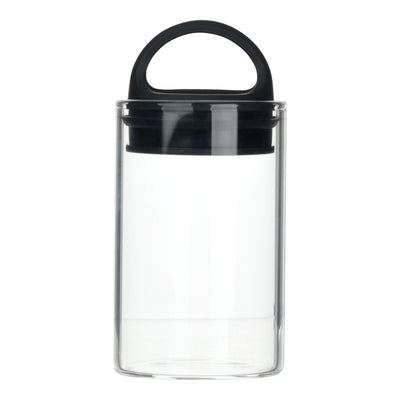 Black clear glass stash jar storage container vacuum seal easy-to-carry with curved handle