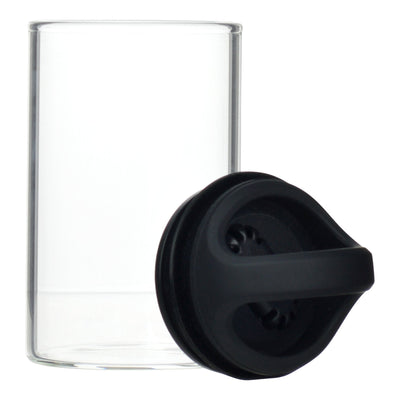 Opened Black clear glass stash jar storage container vacuum seal easy-to-carry with curved handle