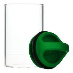 Opened Green clear glass stash jar storage container vacuum seal easy-to-carry with curved handle