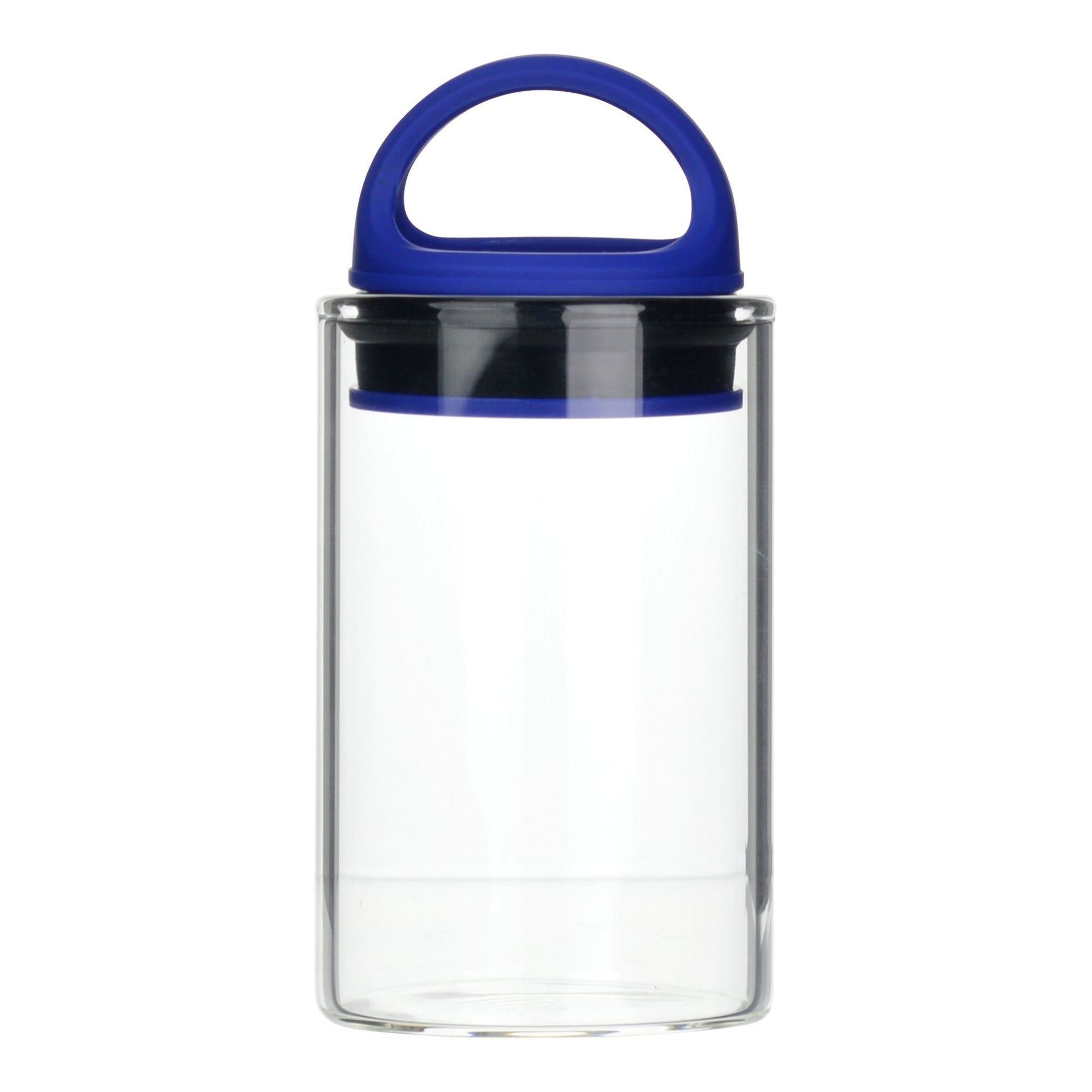 Blue clear glass stash jar storage container vacuum seal easy-to-carry with curved handle