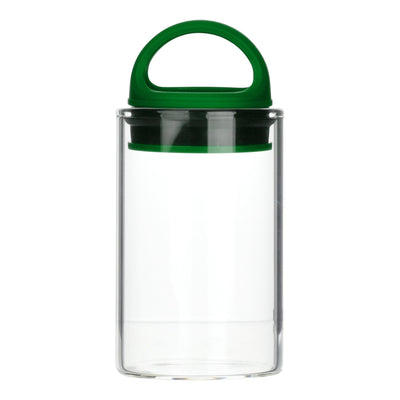 Green clear glass stash jar storage container vacuum seal easy-to-carry with curved handle