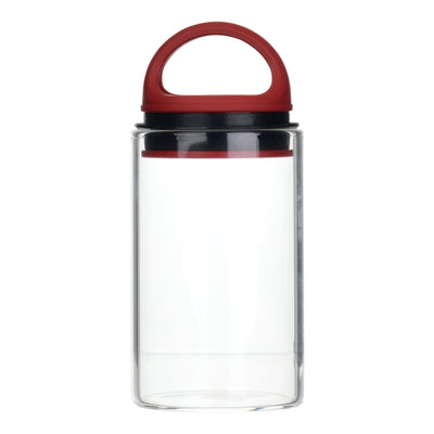 Red clear glass stash jar storage container vacuum seal easy-to-carry with curved handle
