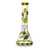 Back part of a 13 inch glass beaker bong in yellow and black colors honeybee cute butterfly design yellow bowl at the back