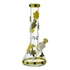 13 inch glass beaker bong in yellow and black colors honeybee and cute butterfly design yellow bowl on right opening visible