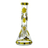13 inch glass beaker bong in yellow and black colors honeybee and cute butterfly design yellow bowl in front
