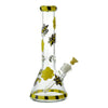 13 inch glass beaker bong in yellow and black colors honeybee and cute butterfly design yellow bowl on right