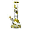 13 inch glass beaker bong in yellow and black colors honeybee and cute butterfly design yellow bowl on left