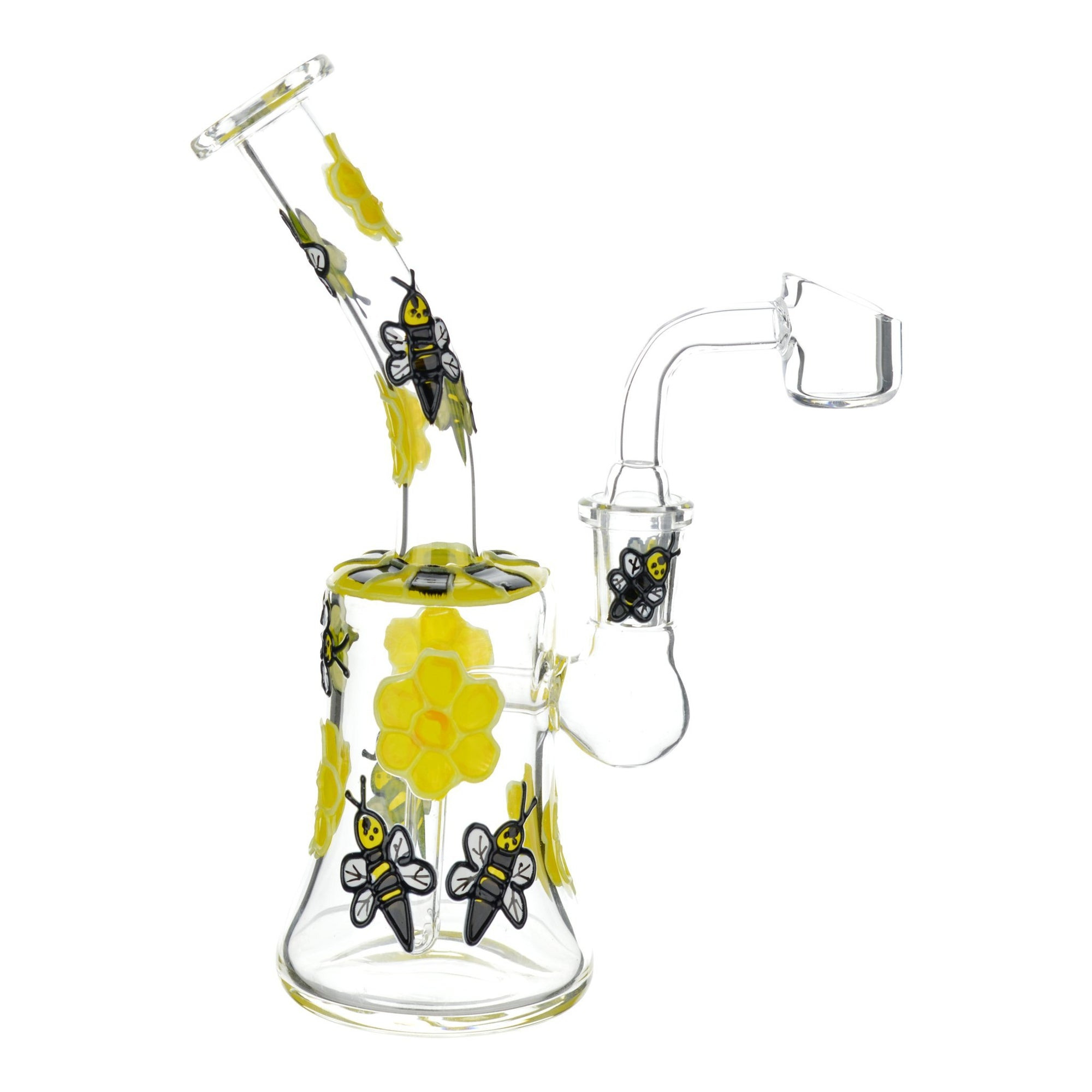 Full shot glass dab rig smoking device yellow flowers honeybee mouthpiece facing left banger facing right