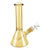 Upright shot of 8 inches glass beaker bong in transparent gold color straight neck bowl on right