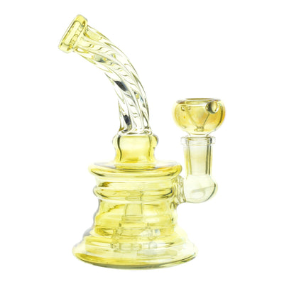 Full shot of 6 inch glass mini bong in subtle golden color twisting design on bent neck and mouthpiece facing left