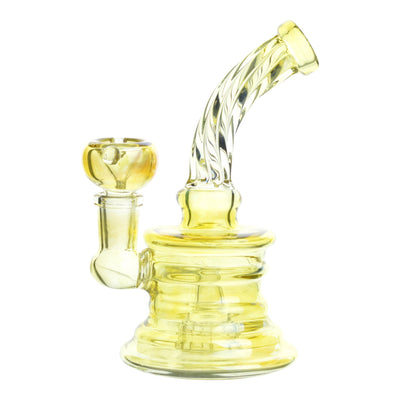 Full shot of 6 inch glass mini bong in light gold color twisting design on bent neck and mouthpiece facing right
